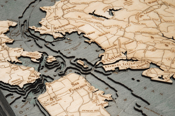 "San Francisco Bay, California 3-D Nautical Wood Chart, Small, 16""x20"""