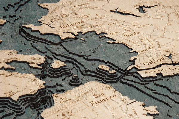 "San Francisco, California 3-D Nautical Wood Chart, Large, 24.5"" x 31"""