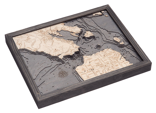 "San Francisco, California 3-D Nautical Wood Chart, Small, 16""x20"""