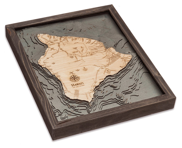 "Hawaii (The Big Island) 3-D Nautical Wood Chart, Small, 16"" x 20"""