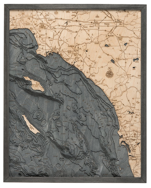 "Los Angeles to San Diego, California 3-D Nautical Wood Chart, Large, 24.5"" x 31"""