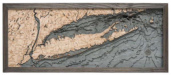 "Long Island Sound, 3-D Nautical Wood Chart, Medium, 13.5"" x 31"""