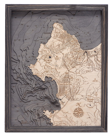 "Carmel / Monterey, California 3-D Nautical Wood Chart, Small, 16""x20"""