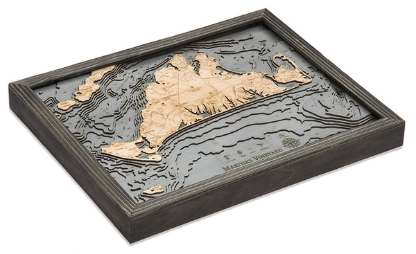 "Martha's Vineyard, Massachusetts 3-D Nautical Wood Chart, Small, 16"" x 20"""