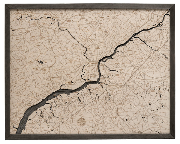 "Philadelphia 3-D Nautical Wood Chart, Large, 24.5"" x 31"""