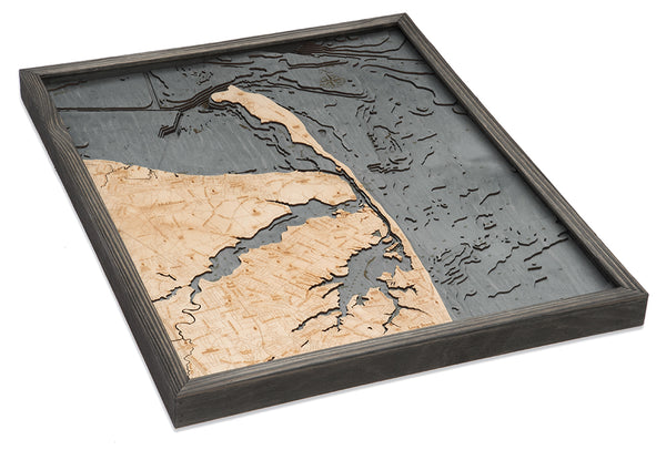 "Rumson, New Jersey 3-D Nautical Wood Chart, Large, 24.5"" x 31"""
