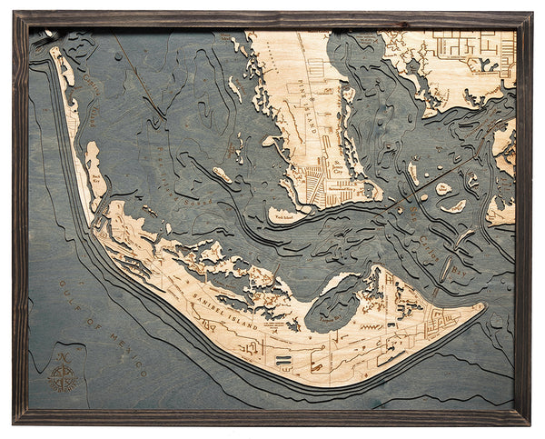 "Sanibel Island, Florida 3-D Nautical Wood Chart, Large, 24.5"" x 31"""