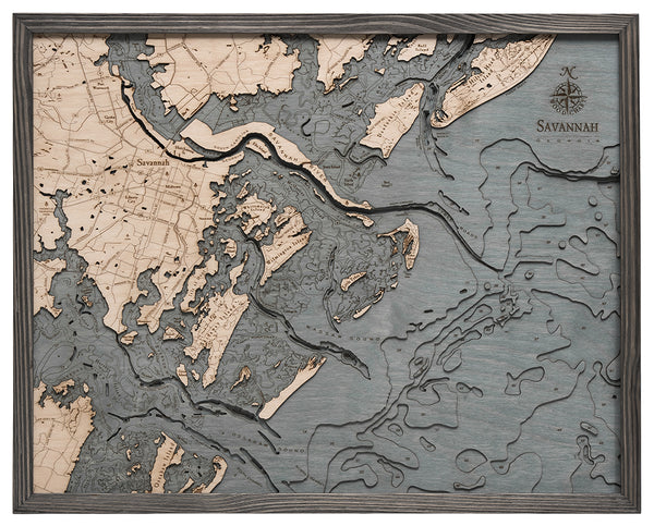 "Savannah, Georgia 3-D Nautical Wood Chart, Large, 24.5"" x 31"