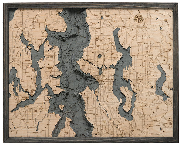 "Seattle 3-D Nautical Wood Chart, Large, 24.5"" x 31"""