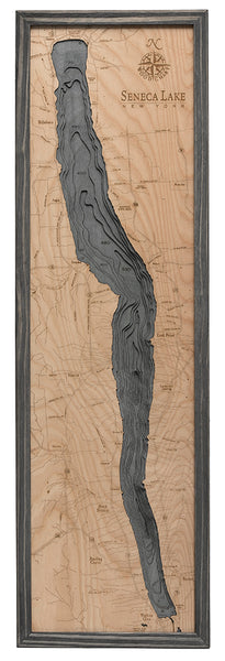 Seneca Lake, New York 3-D Nautical Wood Chart, Narrow, 13.5 x 43""