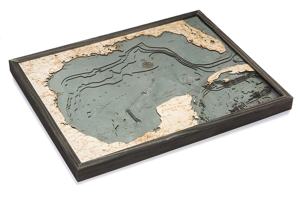 "Gulf of Mexico 3-D Nautical Wood Chart, Large, 24.5"" x 31"""