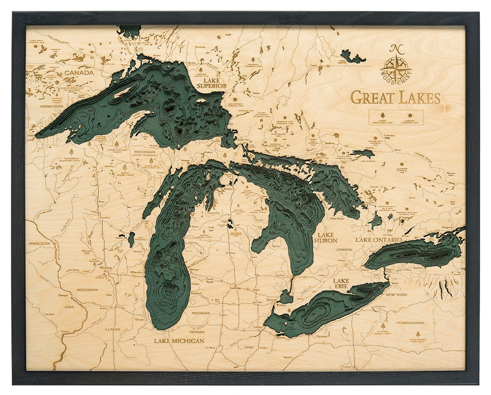 Great Lakes 3D Nautical Wood Chart Large 245 x 31 WoodChart