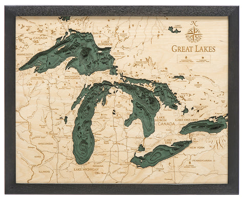 "Great Lakes 3-D Nautical Wood Chart, Small, 16"" x 20"""