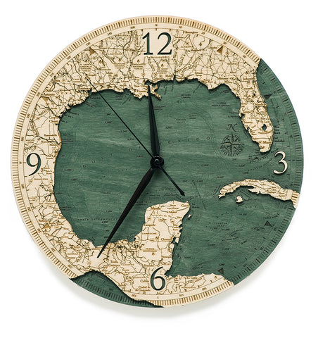 "Gulf of Mexico Clock, 12"" Diameter"