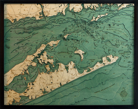 "East Long Island Sound / The Hamptons 3-D Nautical Wood Chart, Large, 24.5"" x 31"""