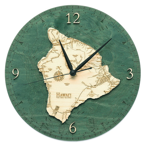 "Hawaii (The Big Island) Clock, 12"" Diameter"
