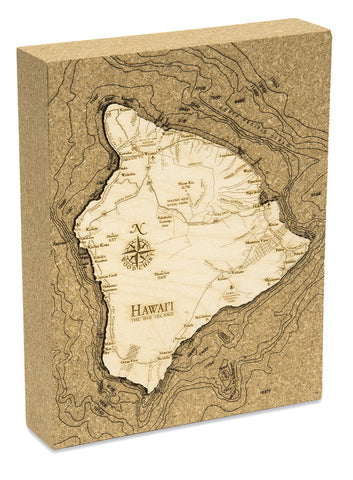 "Hawaii (The Big Island) Cork Map, 8"" x 10"""