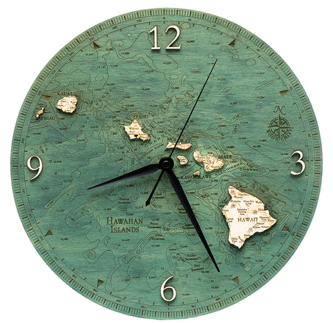 "Hawaiian Islands Clock, 12"" Diameter"