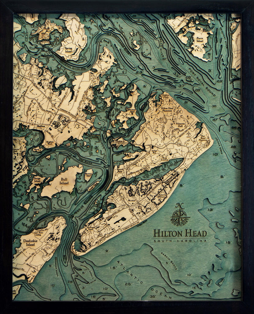 "Hilton Head, South Carolina 3-D Nautical Wood Chart, Small, 16"" x 20"""