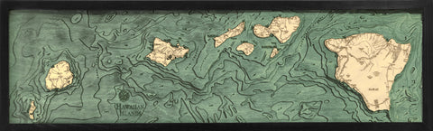 "Hawaiian Islands (all of them), Hawaii 3-D Nautical Wood Chart, Narrow, 13.5"" x 43"""