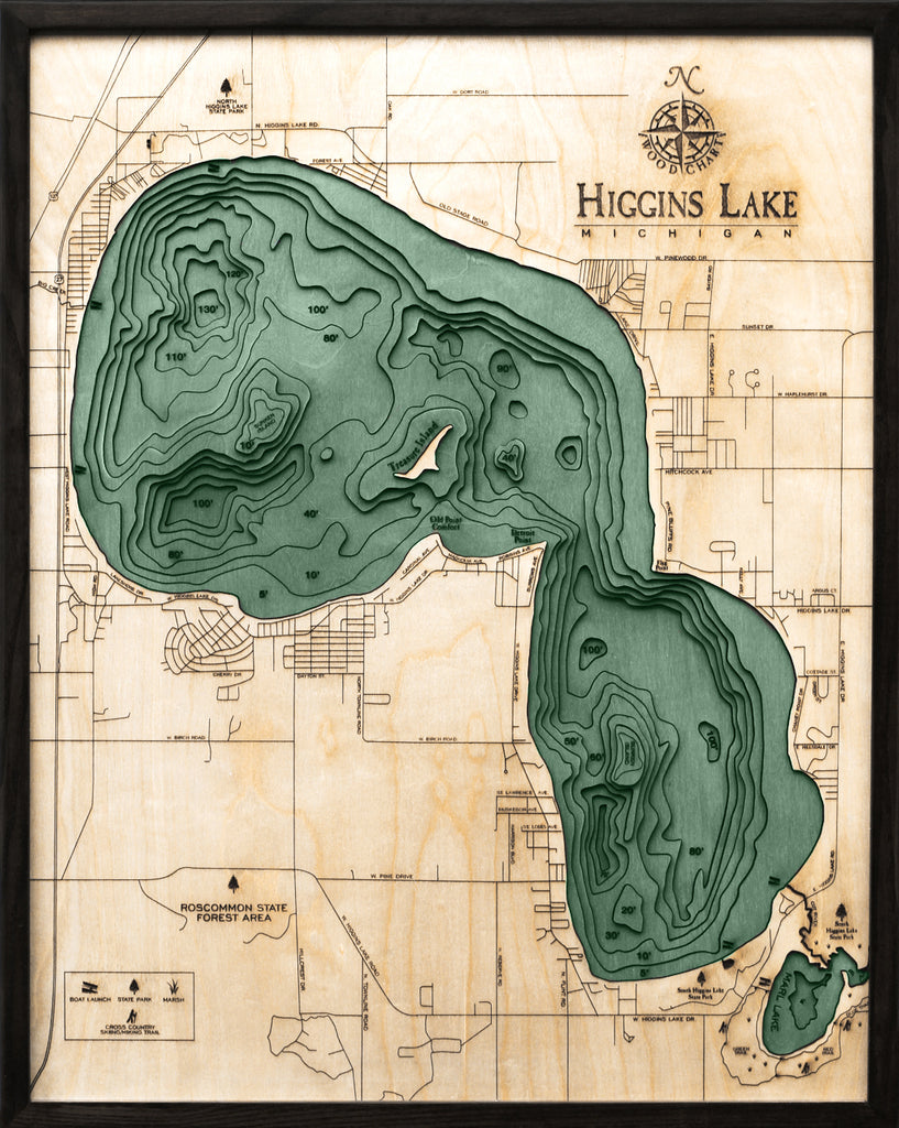 "Higgins Lake, Michigan 3-D Nautical Wood Chart, Large, 24.5"" x 31"""
