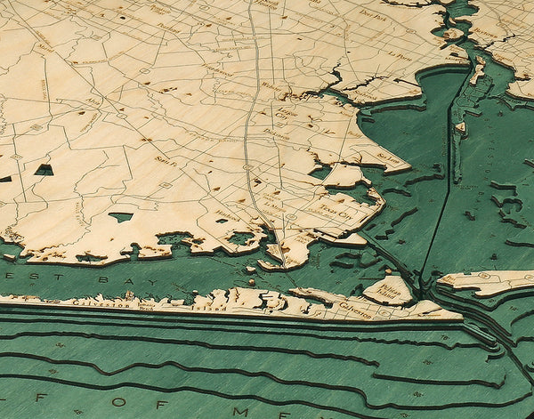 "Houston / Galveston, Texas 3-D Nautical Wood Chart, Large, 24.5"" x 31"""