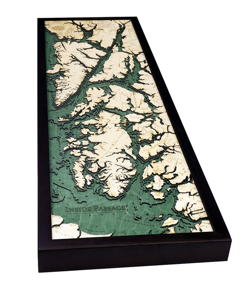 "Inside Passage, Alaska 3-D Nautical Wood Chart, Narrow, 13.5"" x 43"""