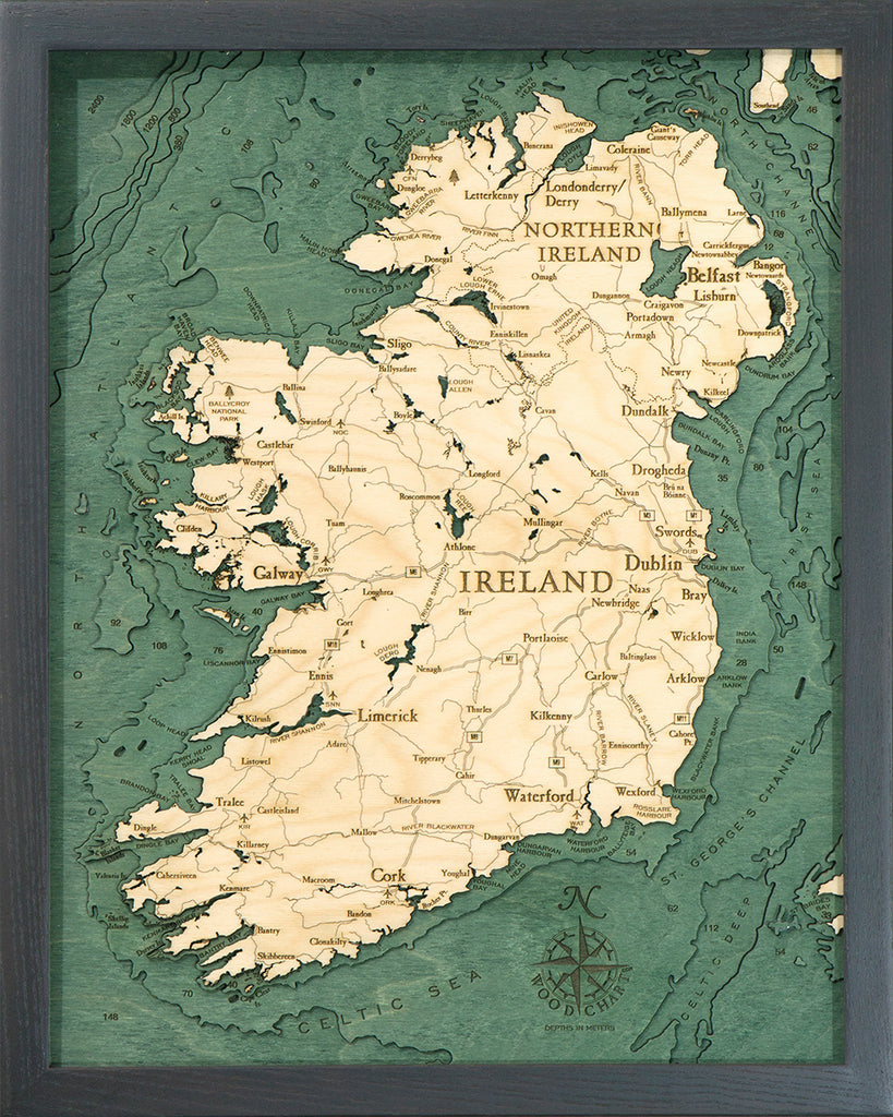 "Ireland 3-D Nautical Wood Chart, Small, 16"" x 20"""