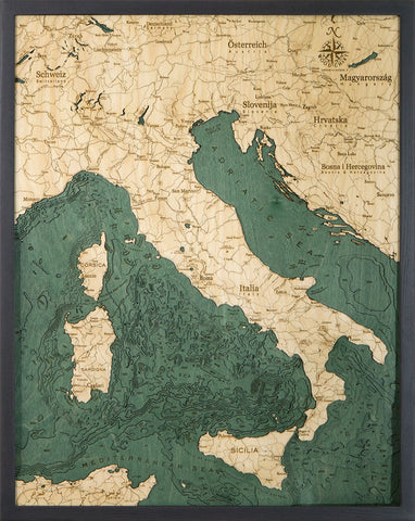 Wood map of Italy