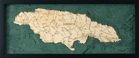 "Jamaica 3-D Nautical Wood Chart, Medium, 13.5"" x 31"""