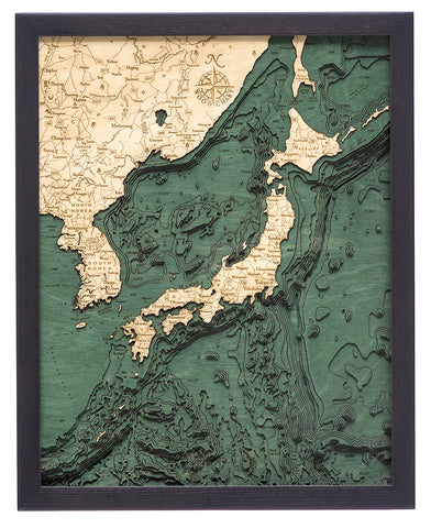 "Japan and Korea 3-D Nautical Wood Chart, Small, 16"" x 20"""