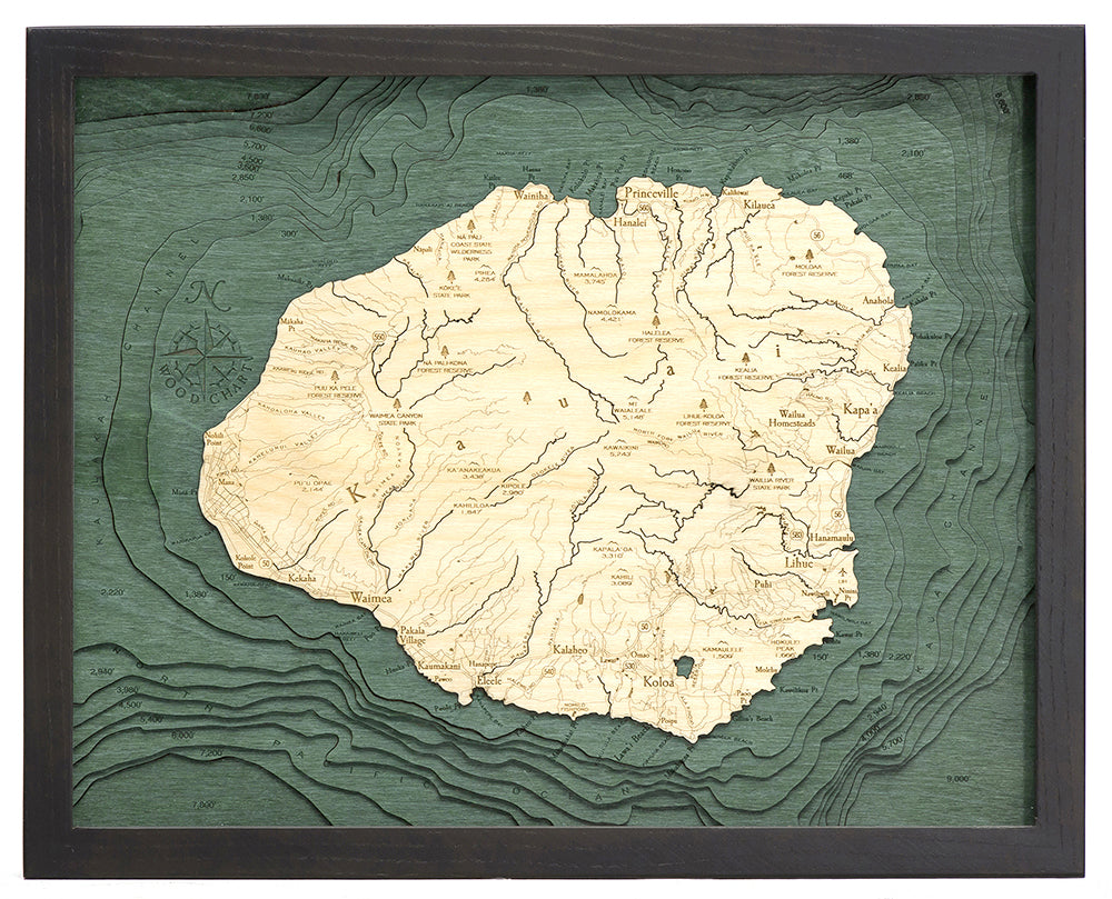 "Kauai, Hawaii 3-D Nautical Wood Chart, Small, 16"" x 20"""