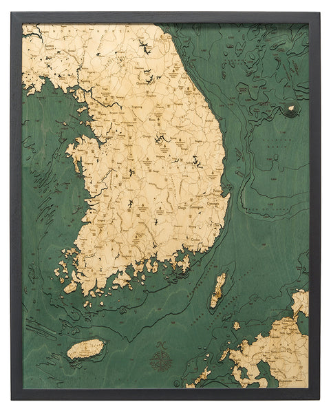 "South Korea 3-D Nautical Wood Chart, Large, 24.5"" x 31"""