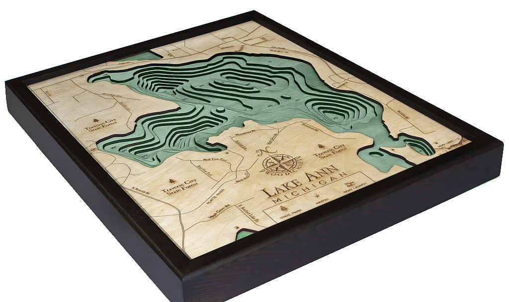 "Lake Ann (Traverse), Michigan 3-D Nautical Wood Chart, Small, 16"" x 20"""