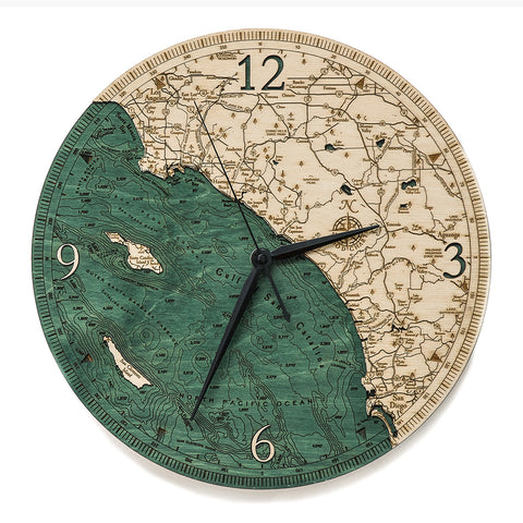 "Los Angeles to San Diego, California Clock, 12"" Diameter"
