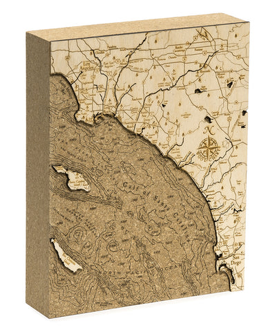 "Los Angeles to San Diego, California Cork Map, 8"" x 10"""