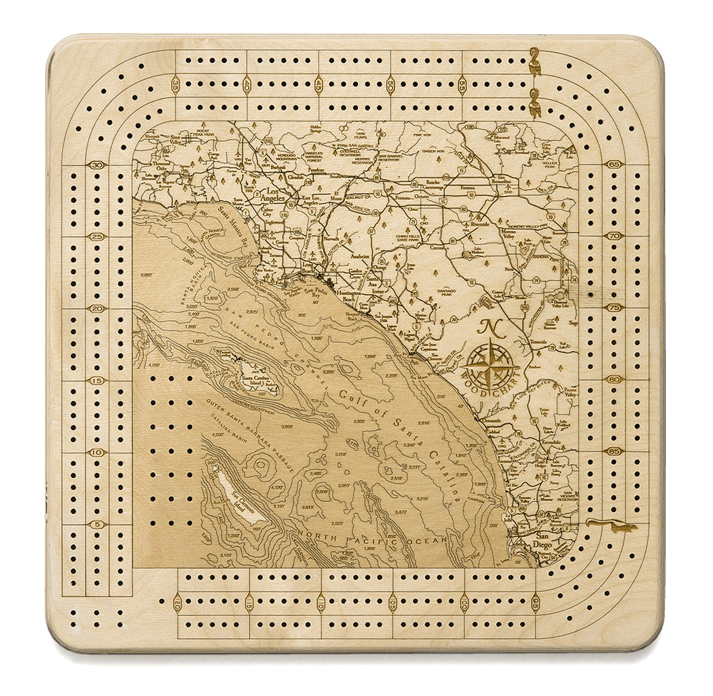 Los Angeles to San Diego, California Cribbage Board
