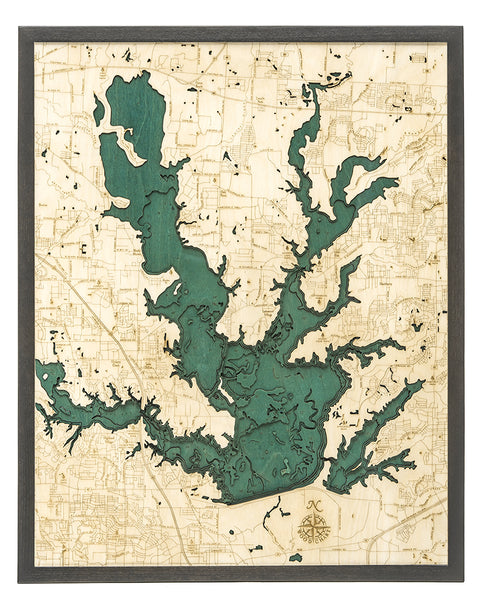 "Lewisville Lake, Texas 3-D Nautical Wood Chart, Large, 24.5"" x 31"""