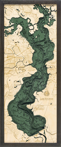 "Lake Houston, Texas 3-D Nautical Wood Chart, Medium, 13.5"" x 31"""