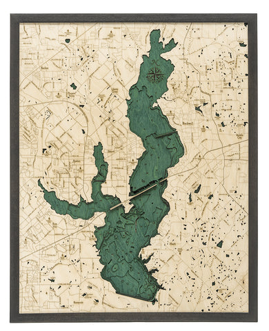 "Lake Ray Hubbard, Texas 3-D Nautical Wood Chart, Large, 24.5"" x 31"""