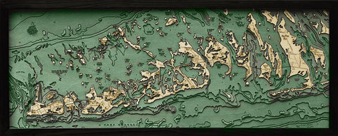 "Florida Keys, Florida 3-D Nautical Wood Chart, Medium, 13.5"" x 31"""