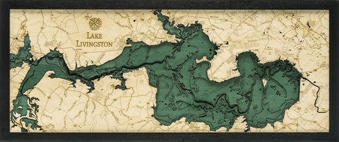 "Lake Livingston, Texas 3-D Nautical Wood Chart, Medium, 13.5"" x 31"""
