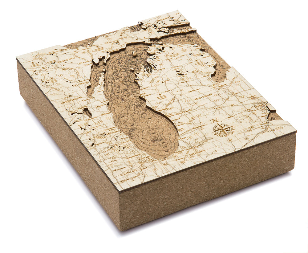 "Lake Michigan Cork Map, 8"" x 10"""