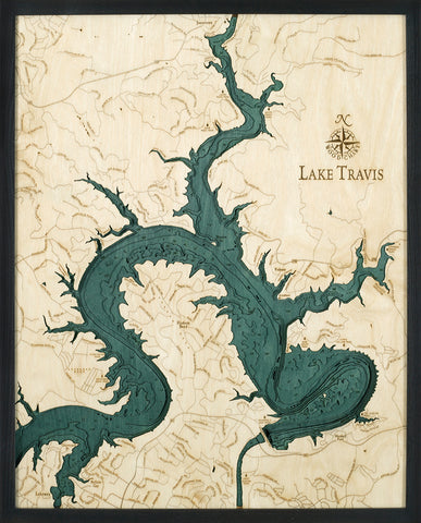 "Lake Travis, Texas 3-D Nautical Wood Chart, Large, 24.5"" x 31"""