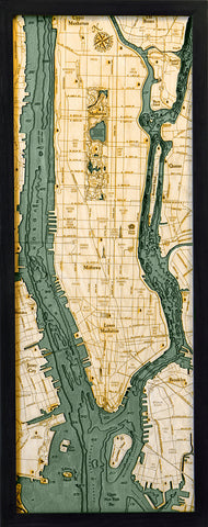 "Manhattan, New York 3-D Nautical Wood Chart, Medium, 13.5"" x 31"""