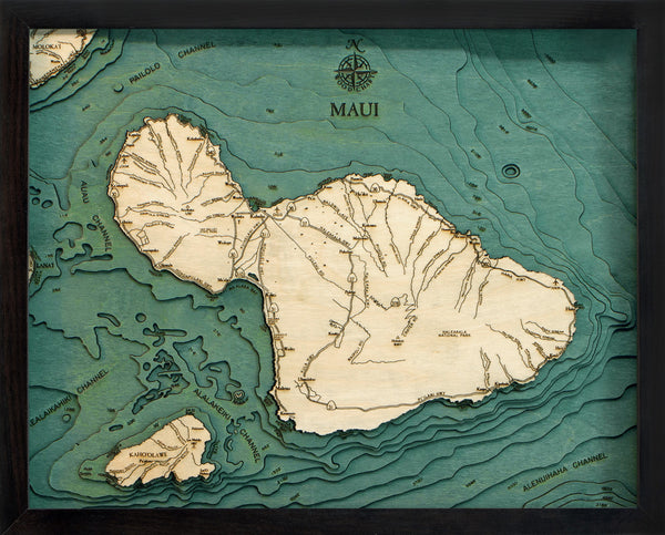"Maui, Hawaii 3-D Nautical Wood Chart, Small, 16"" x 20"""