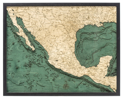 "Mexico 3-D Nautical Wood Chart, Large, 24.5"" x 31"""