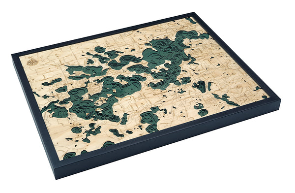 "Lake Minnetonka, Minnesota 3-D Nautical Wood Chart, Large, 24.5"" x 31"""
