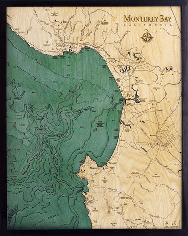 "Monterey Bay, California 3-D Nautical Wood Chart, Large, 24.5"" x 31"""