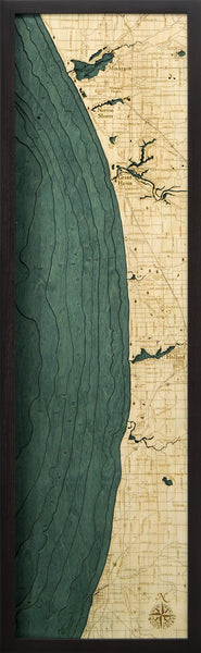 "Muskegon to South Haven, 3-D Nautical Wood Chart, Narrow, 13.5"" x 43"""